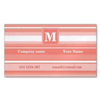 Monogram coral stripes magnetic business card