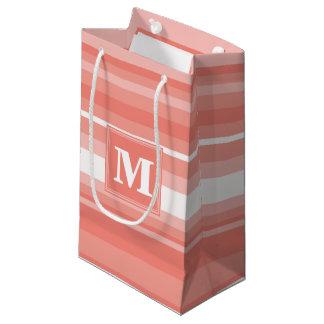 Monogram coral stripes small gift bag
