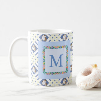 Monogram Cornflower Blue English Bulldog Coffee Mug