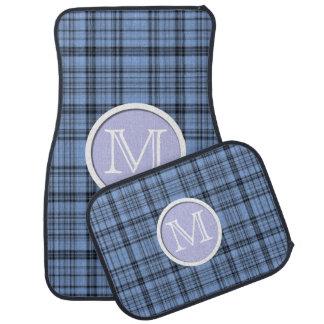Monogram Cornflower Blue Plaid Floor Mats Floor Mat