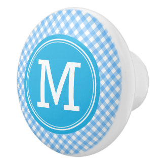 Monogram Country Chic Baby Blue Gingham Ceramic Knob
