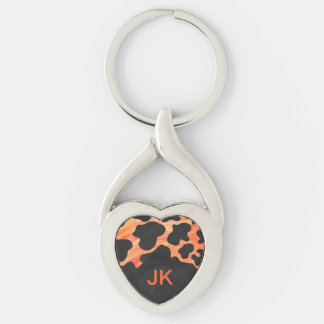 Monogram Cow Black and Orange Print Silver-Colored Twisted Heart Keychain