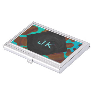 Monogram Cow Brown and Teal Print Business Card Holder