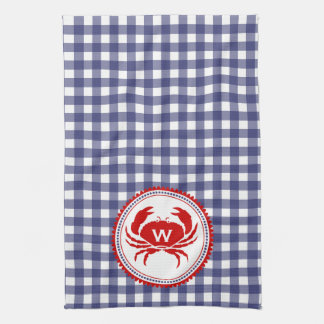 Monogram Crab & Blue Gingham Kitchen Towel