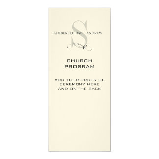 Monogram Cream Wedding Program 4x9.25 Paper Invitation Card