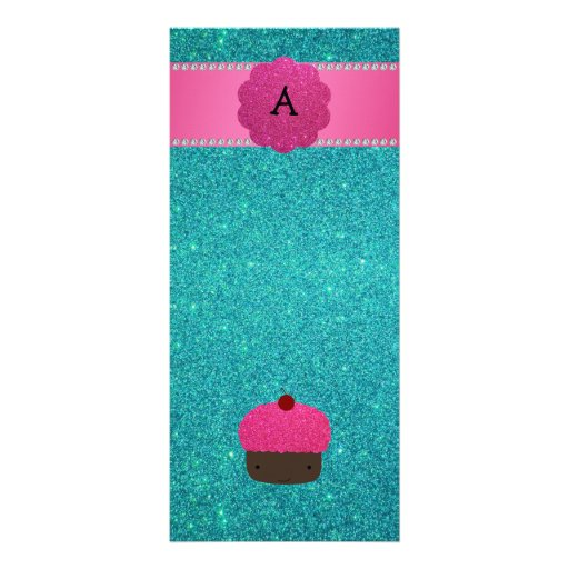 Monogram cupcake turquoise glitter personalized rack card