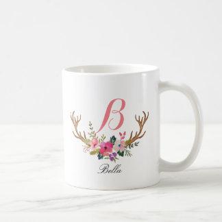 Monogram,custom floral deer horn-2 coffee mug