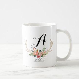 Monogram,custom floral deer horn coffee mug