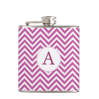 Monogram Custom Initial Modern Purple Chevron Art Hip Flask