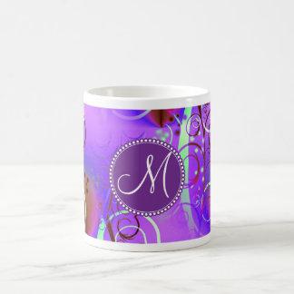 Monogram Custom Initial Purple Floral Swirls Girly Coffee Mug