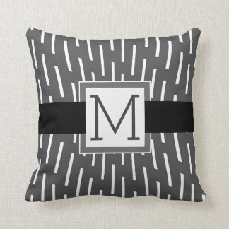 monogram custom pillow modern gray and white