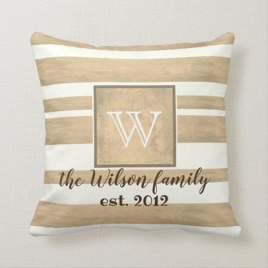 monogram custom pillow sepia and white stripes