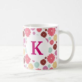 Monogram Custom Printed Coffee Mug Pretty Flowers