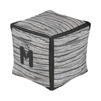 Monogram. Customizable Plank Wood Panel Pouf