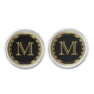 Monogram Customize Gold Black Classy Stripe Design Cufflinks