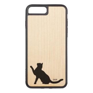 Monogram. Cute Black Cat Silhouette Eyeing Camera Carved iPhone 8 Plus/7 Plus Case