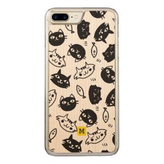 Monogram. Cute Doodles. Black & White Cats. Carved iPhone 8 Plus/7 Plus Case