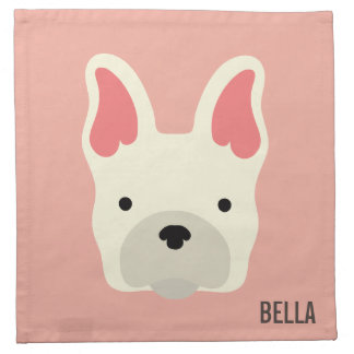 Monogram. Cute French Bulldog. Napkin