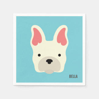 Monogram. Cute French Bulldog. Paper Napkin
