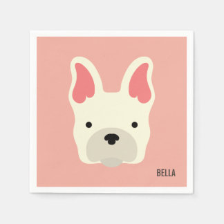Monogram. Cute French Bulldog. Paper Napkins