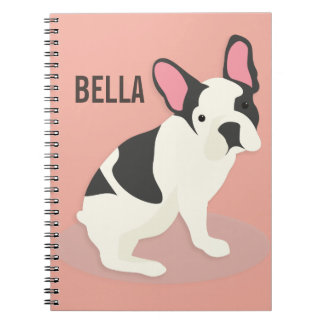 Monogram. Cute French Bulldog. Spiral Notebook