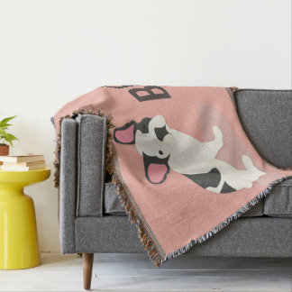 Monogram. Cute French Bulldog. Throw Blanket