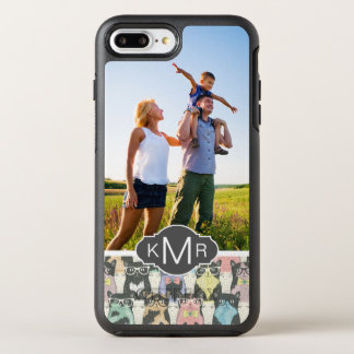Monogram | Cute Hipster Cats Pattern OtterBox Symmetry iPhone 8 Plus/7 Plus Case