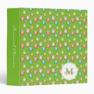 Monogram Cute Owls Pattern 3 Ring Binder