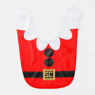 Monogram Cute Red Christmas Elf Holiday Baby Bib