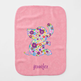 Monogram Cute Retro Flowers Cartoon Style Elephant Burp Cloths