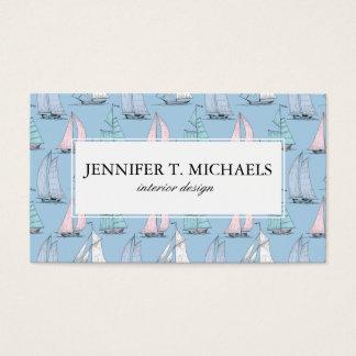 Monogram Cute Sailboat Pattern 1 Business Card