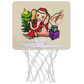 Monogram Cute Santa Christmas Cartoon Elephant Mini Basketball Hoop