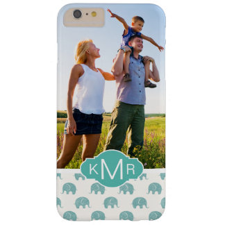 Monogram | Cute Teal  Elephant Pattern Barely There iPhone 6 Plus Case