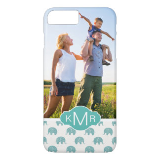 Monogram | Cute Teal  Elephant Pattern iPhone 8 Plus/7 Plus Case