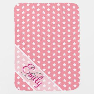 Monogram Cute White Stars Pattern Girly Pink Baby Blanket