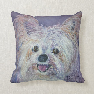 MONOGRAM CUTE WHITE YORKIE MIX THROW PILLOW