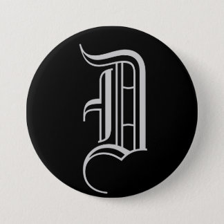 "MONOGRAM ""D"" 3 INCH ROUND BUTTON"