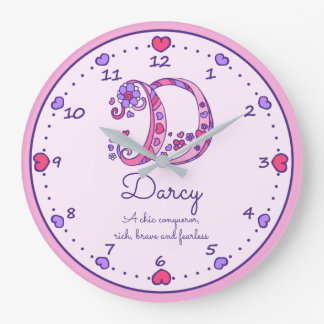 Monogram D Darcy hearts name meaning clock