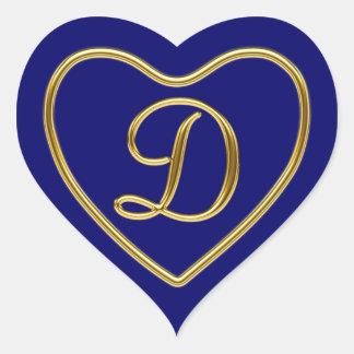 Monogram D in 3D gold Heart Sticker