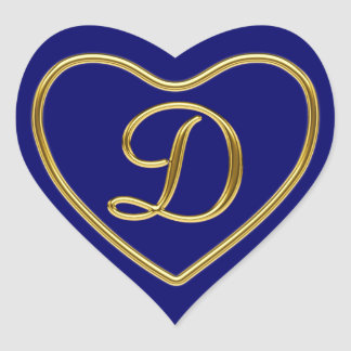 Monogram D in 3D gold Heart Stickers