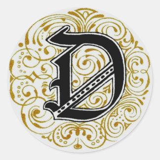 Monogram 'D' in Gold - Sticker