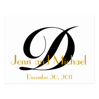 Monogram D Save the Date Card Gold Black White