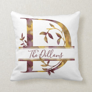 Monogram D - Watercolor - Personalized Throw Pillow