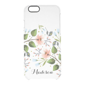 Monogram Dainty Flowers Floral iPhone 6 Clear Clear iPhone 6/6S Case