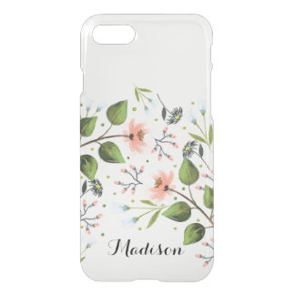 Monogram Dainty Flowers Floral iPhone 7 Clear iPhone 7 Case