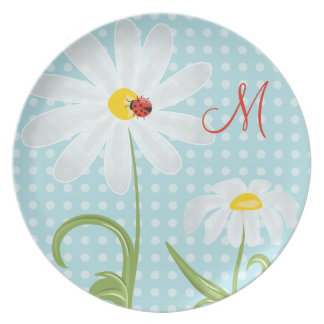 Monogram Daisies and Lady Bug Polka Dot Blue Party Plates