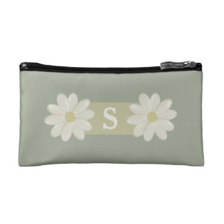 Monogram Daisy Flowers Desert Sage Cosmetic Bag