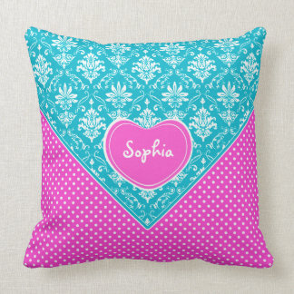 Monogram Damask and Polka Dots Throw Pillow