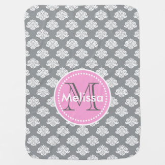 Monogram Damask Baby Blanket Personalize