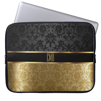Monogram Damask Black with Gold Floral Laptop Sleeve